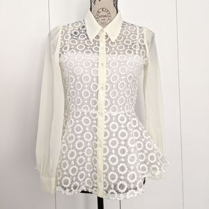 Japanese Cecil McBee Lace Sheer Peplum Blouse Top